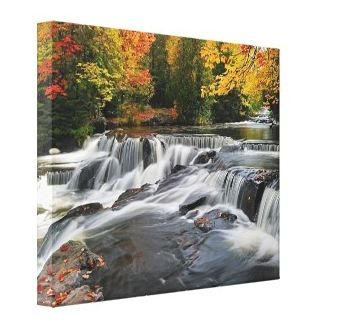 Canvas Gallery wraps Michigan waterfalls, Lighthouses, Fine Art Print