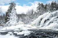 """Frost and snow covered trees at Bond Falls"""