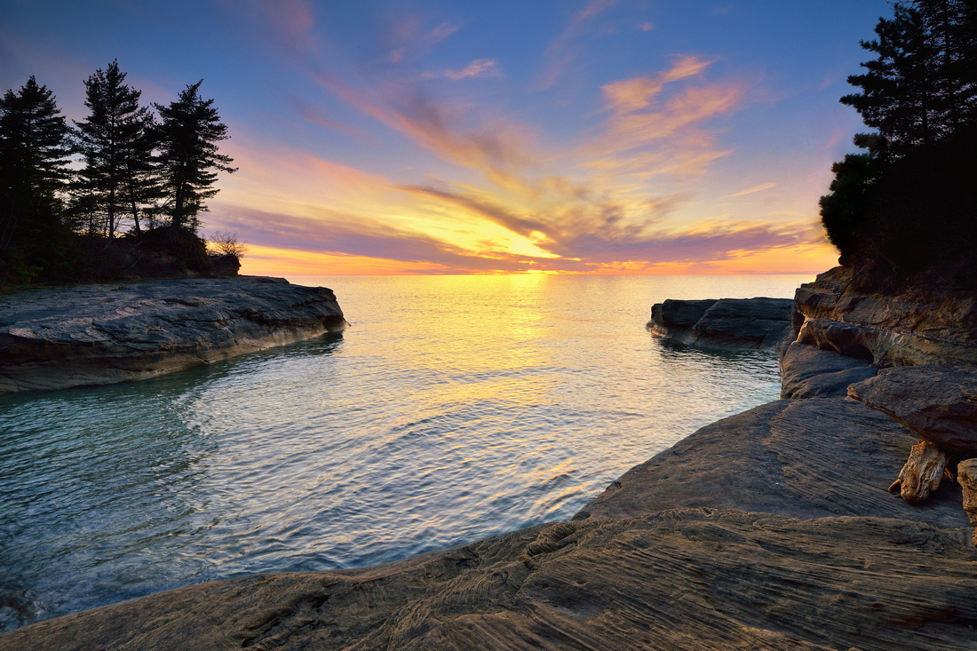 "Sunset at the ""Coves"" Pictured Rocks National Lakeshore."