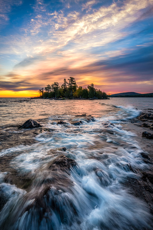 A peaceful sunrise over Porter's Island and Copper Harbor, Michigan.