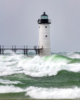 Big rollers at Manistee Lighthouse