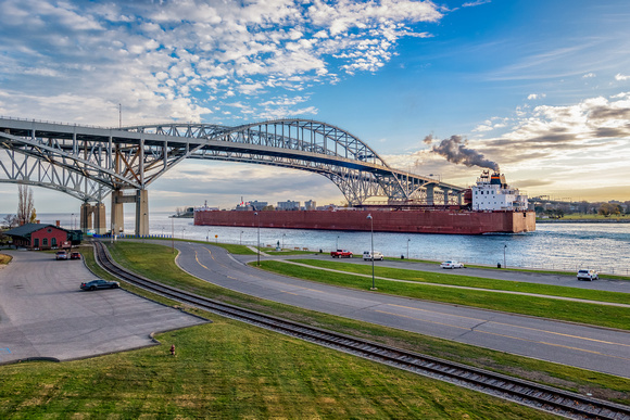 The Paul R. Tregurtha Upbound the St. Clair River at the Blue Water Bridge in Port Huron, MI.