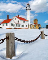 Whitefish Point Lighthouse sunny winter day