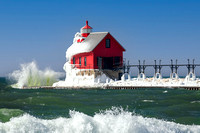 Grand Haven Lighthouse icy splashes