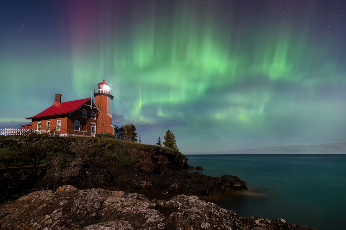 """""""Aurora in the Moonlight""""  Eagle Harbor Lighthouse"""