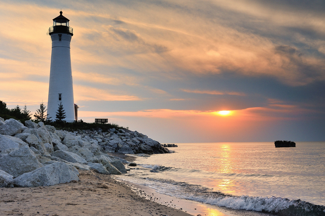 Michigan Nut Photography: Lighthouse Gallery - State of Michigan &emdash; Crisp Point Lighthouse Sunset - Lake Superior