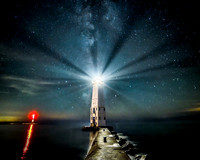 """Midnight Light""  Frankfort, MIchigan Lighthouse under the stars"