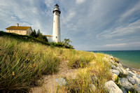 "South Manitou Island Lighthouse ""Evening Light"""