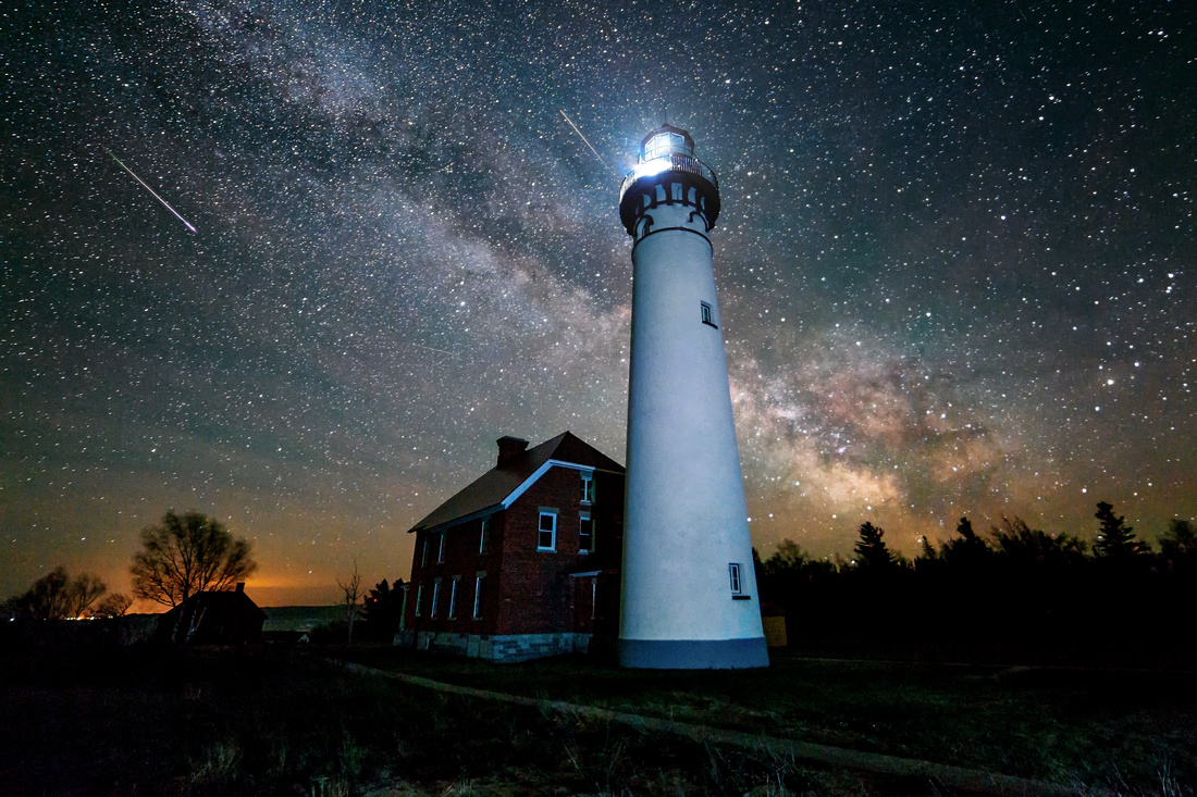 Milky Way Meteor Shower - Au Sable Point Lighthouse Pictured Rocks National lakeshore