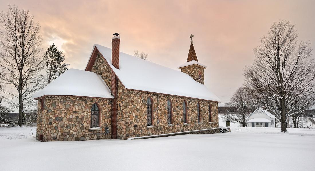 """""""Praga"""" Saint John Nepomucene Gothic Revival Church, East Jordan Michigan"""