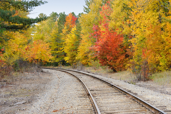 Autumn on the (CN) Canadian National Railway, taken near Three Lakes, Michigan. Michigan