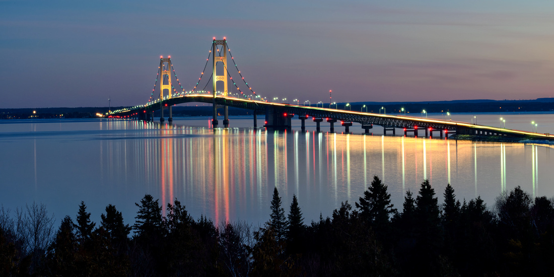 Mighty Mac Bridge reflections