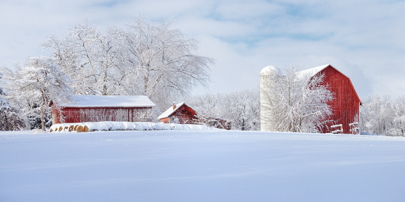 Fresh Winter snow at a Michigan barn and farm  ( Old Barns Gallery )