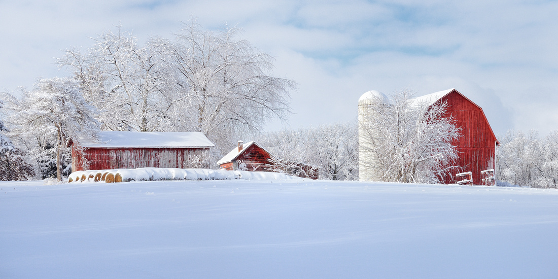 Fresh Winter snow at a Michigan barn and farm