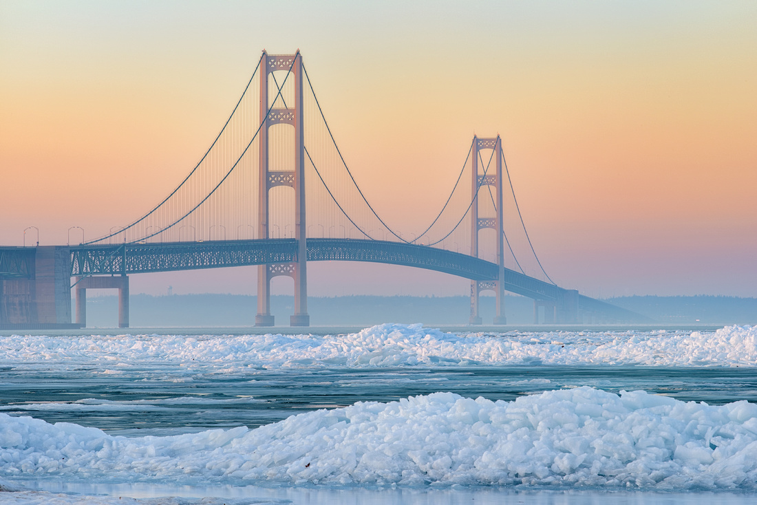 Misty melting ice at Mackinac Bridge