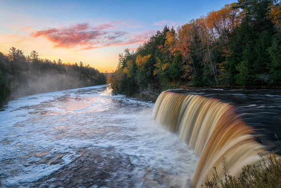 A misty Tahquamenon Falls sunrise