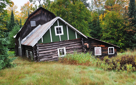 Old Cabin and barn in the Hiawatha National Forest