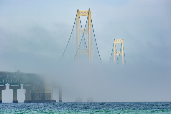 Mackinac Bridge in heavy fog