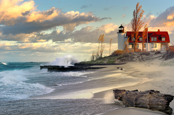 """Waves crasing on Point Betsie Lighthouse"""