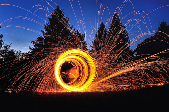 """FireSteel""  Buring Steel Wool"