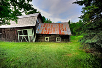 Old Michigan log cabin and barn