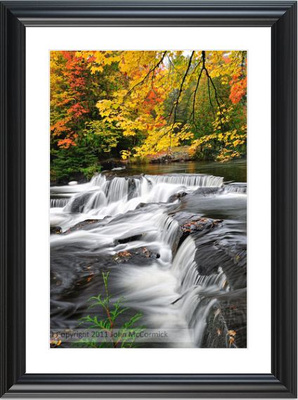 Framed and Matted Print Bond Falls Autumn