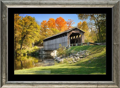 Matted and framed Covered Bridge