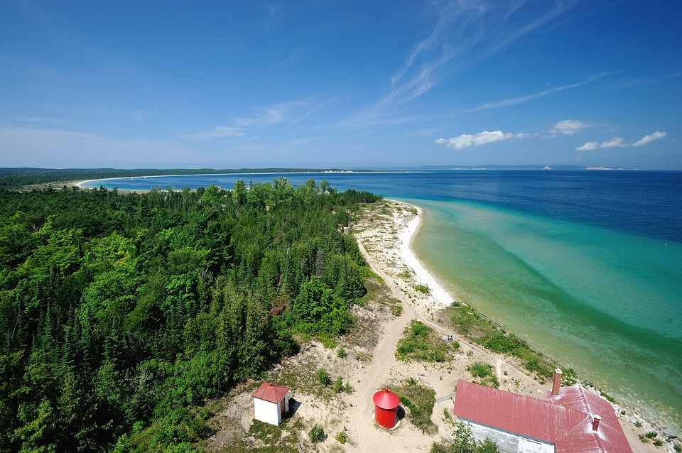 View from the top of the South Manitou Island Lighthouse