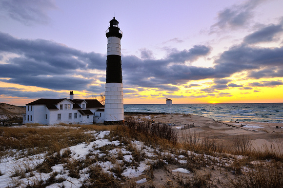 michigan nut photography winter in michigan big sable point lighthouse winter sunset. Black Bedroom Furniture Sets. Home Design Ideas