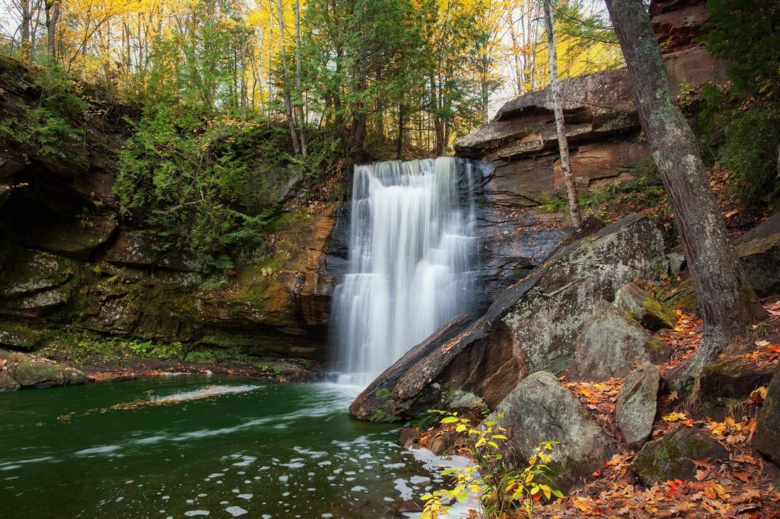Beautiful autumn day at Hungarian Falls in the Keweenaw Peninsula