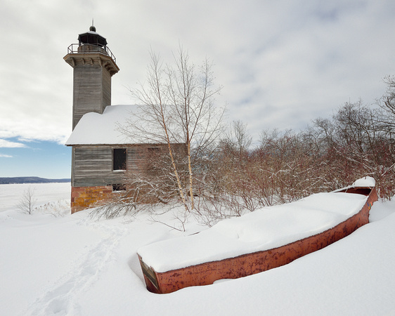 """A Boat Load of Snow""  Grand Island East Channel Lighthouse"