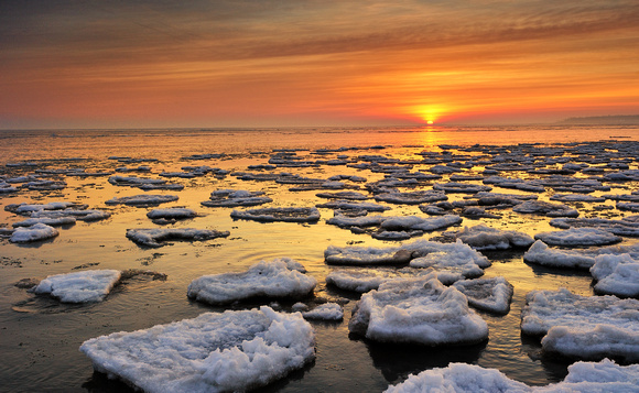 """Breaking Dawn""   Lake Huron Sunrise , Point Aux Barques"