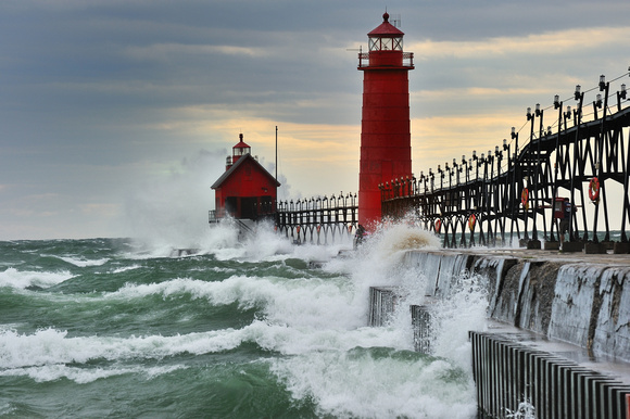 Grand Haven Lighthouse Storm , Huge waves crashing