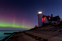 """Northern Lights at Point Betsie Lighthouse"""