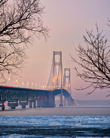 Misty evening light at Mackinac Bridge